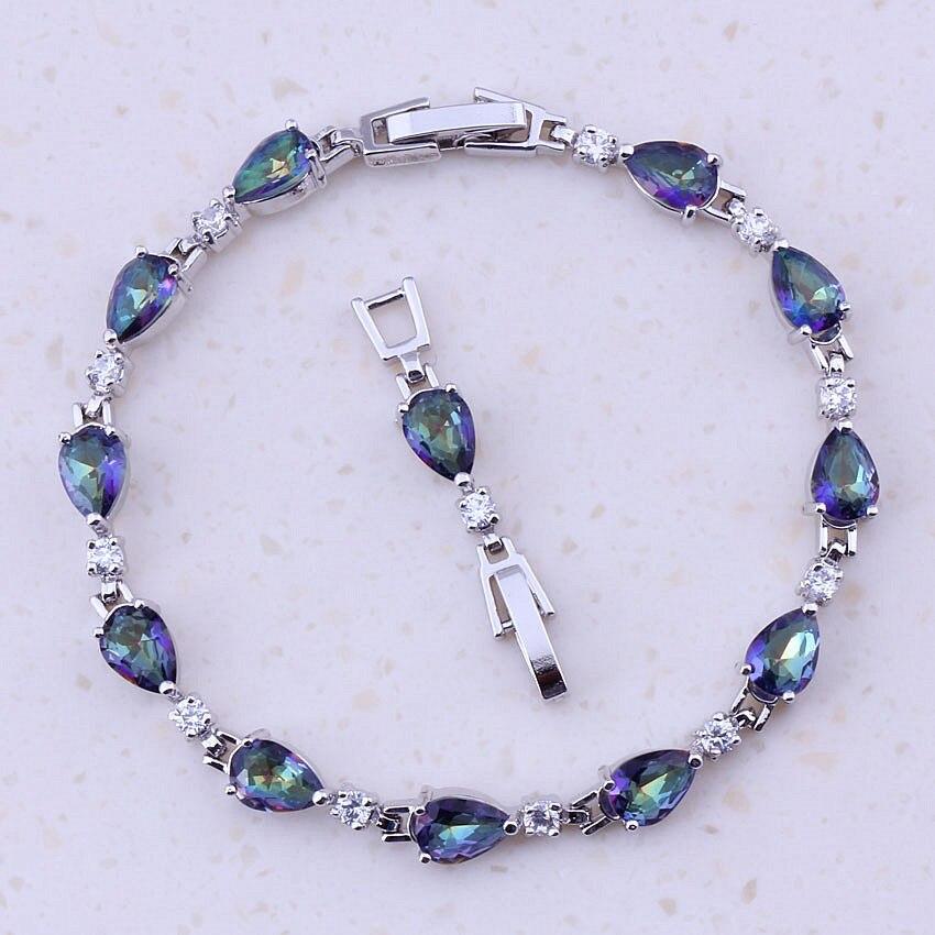 Unusal Blue Rainbow Mystic Crystal Cubic Zircon Fashion Jewelry Silver Color Trendy Water Drop Charm Bracelets For Women D0078