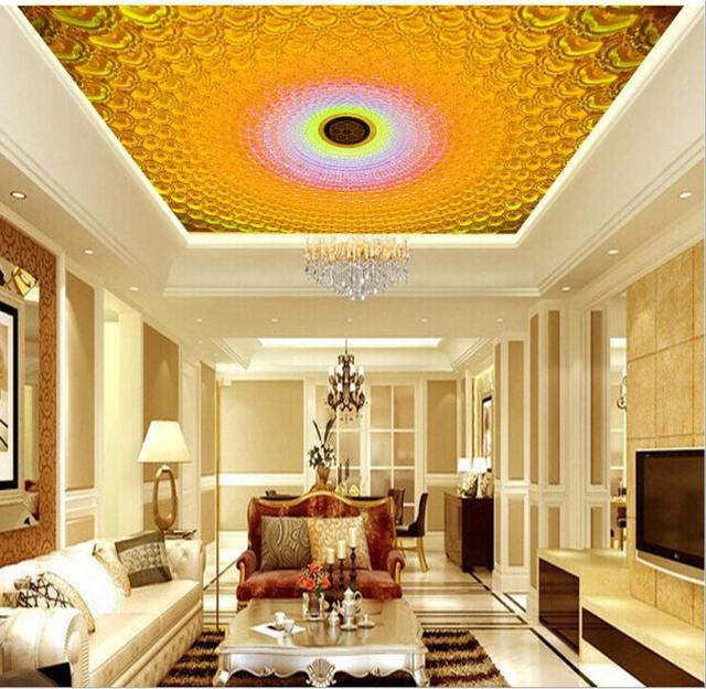 US $21.87 46% OFF|Europäische vlies Papier Tapeten 3D decke goldene große  wandbild tapete Für Wohnzimmer/Hotel lobby/Schlafzimmer /kinder Zimmer  Dekor ...