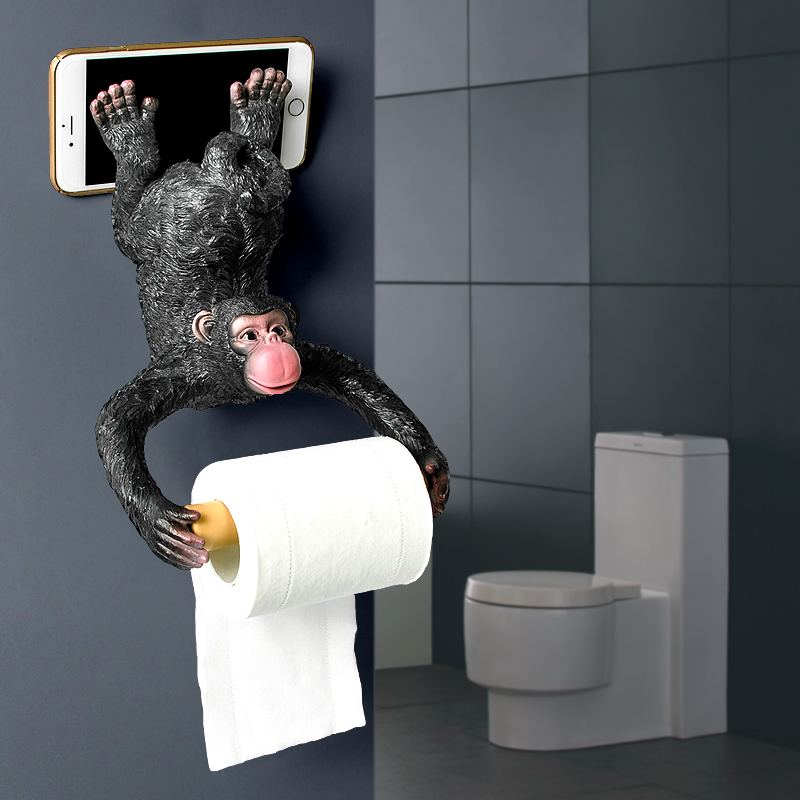 European bathroom monkey tissue toilet paper holder straw paper resin waterproof paper holder wall hanging LO62152 partol removable car tissue box car sun visor tissue paper holder cartoon auto seat back armrest hanging paper napkin container