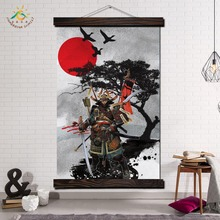 Samurai Japan Style Wall Art Canvas Prints Painting Frame Scroll Hanging Poster Decorative Picture