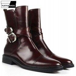 Männer Hohe Top Business Echtem Leder Schuhe England Stil Schnalle Seite Zip Spitz Stiefel Qualität Kleid Stiefel 38- 44