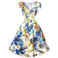 New Fashion Retro Rockabilly Vintage Dresses Swing Housewife Picnic Summer style 2016 floral printed pinup dress for women cheap
