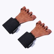 Leather Weight Lifting Gloves with Wrist Wraps Hand Grips for Palm Protection Cr