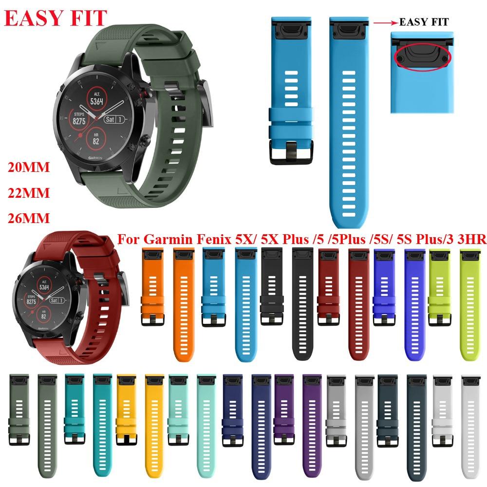 JKER Strap Watch Wrist-Band Garmin Quick-Release Silicone Plus Fenix 5x for 3 3-Hr 26-22mm