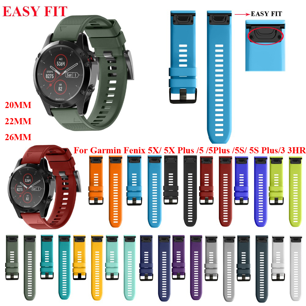 JKER 26 22MM Watchband For Garmin Fenix 5 5X 5S 3 3 HR For Fenix 6X 6 6S Watch Quick Release Silicone Easyfit Wrist Band Strap