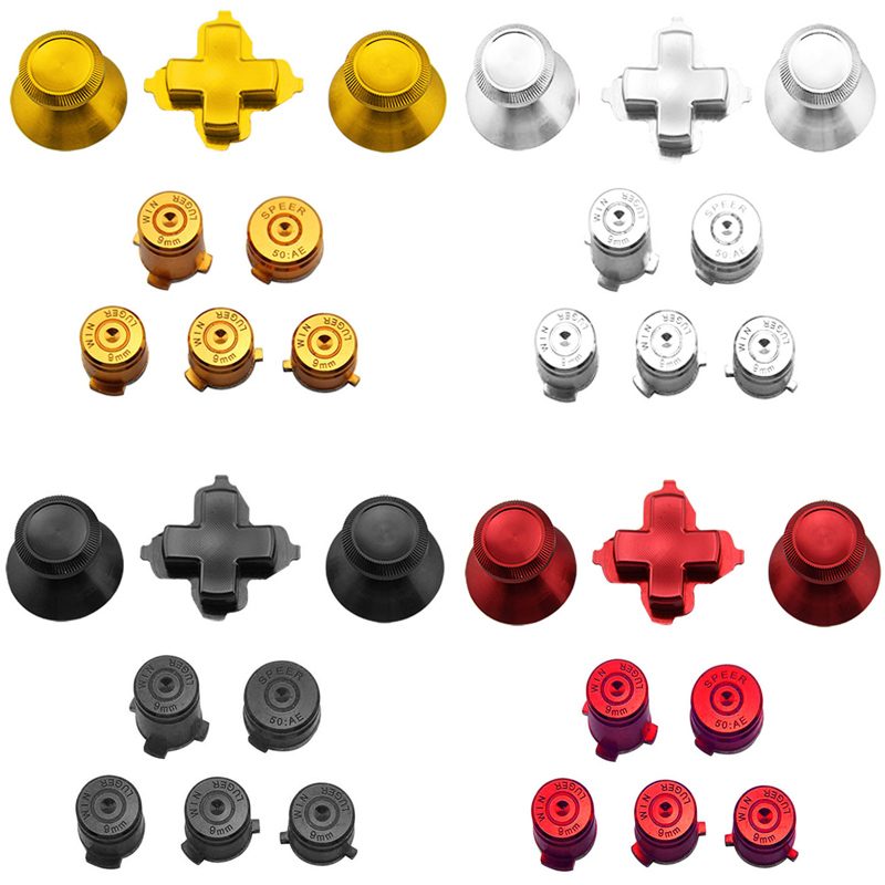 Aluminium Metal Thumbstick Joystick Analog Cap Bullet ABXY Guide Button D-Pad Dpad Buttons For Xbox One Controller Replacement