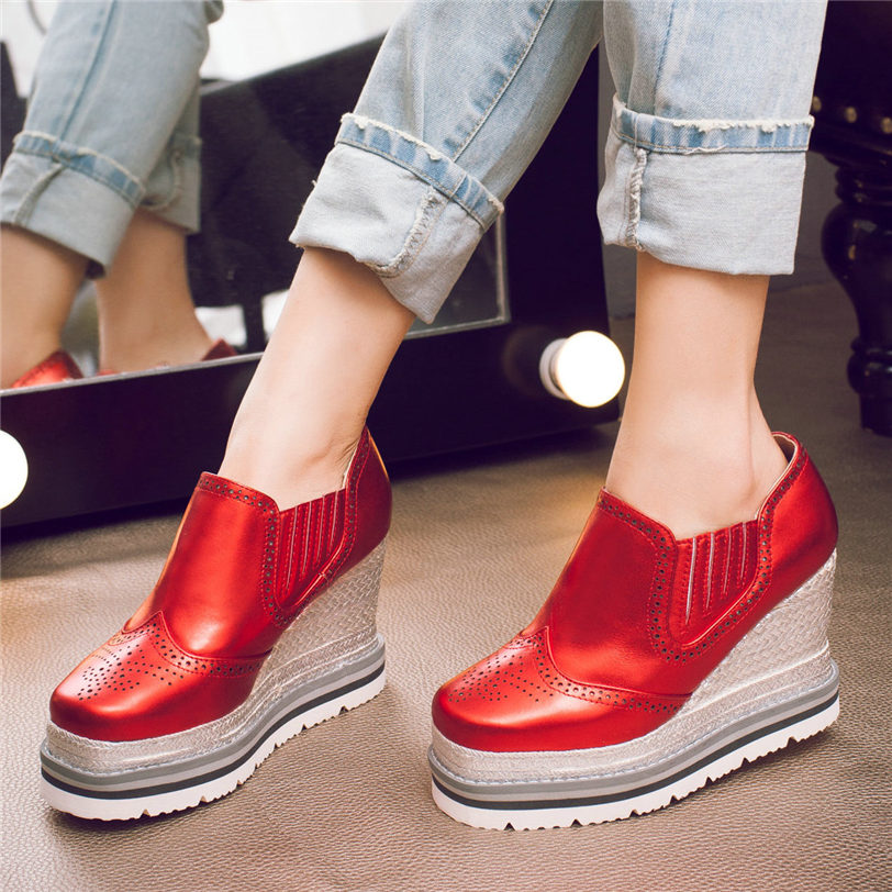 Punk Goth Creepers Women Shoes Genuine Leather High Heel Wedding Party Pumps Shoes Med Top Wedges Platform Oxfords Casual Shoes in Women 39 s Pumps from Shoes