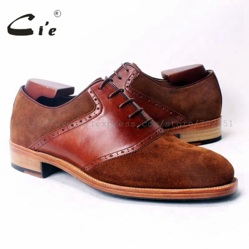 cie Round Toe Brown Suede Mixed Colors Brown Calf Leather 100%Genuine Leather Outsole Breathable Bespoke Men Shoe Handmade OX350