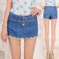 2017 Nova Marca Feminino Culotte Retro Calções Vistoso Das Mulheres Verão além de Grande tamanho XXL Breasted Cintura Alta Denim Shorts Jeans saias