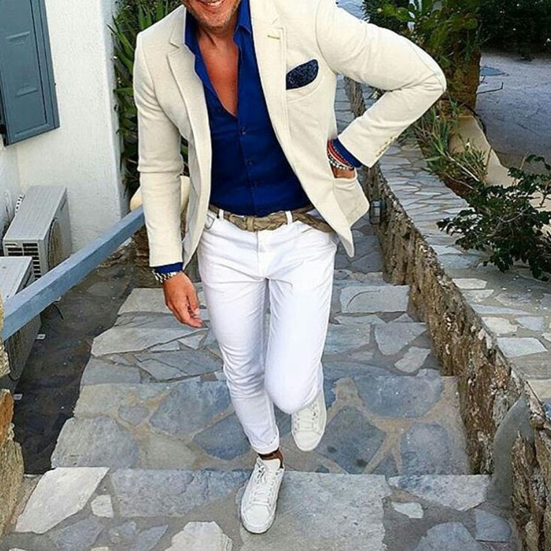 Casual Ivory Men Suits For Business Beach Wedding Man Blazer White Pants Man Jacket Groom Tuxedos 2Piece Slim Fit Costume Homme