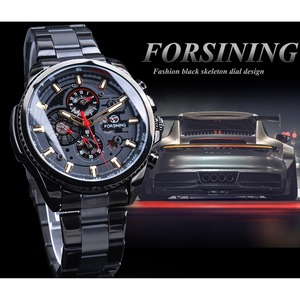 Image 3 - Forsining 2019 Classic Black Clock Steampunk Series Complete Calendar Mens Sport Mechanical Automatic Watches Top Brand Luxury