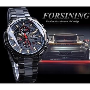 Image 3 - Forsining 2019สีดำคลาสสิกนาฬิกาSteampunk Seriesปฏิทินกีฬาอัตโนมัตินาฬิกายี่ห้อLuxury