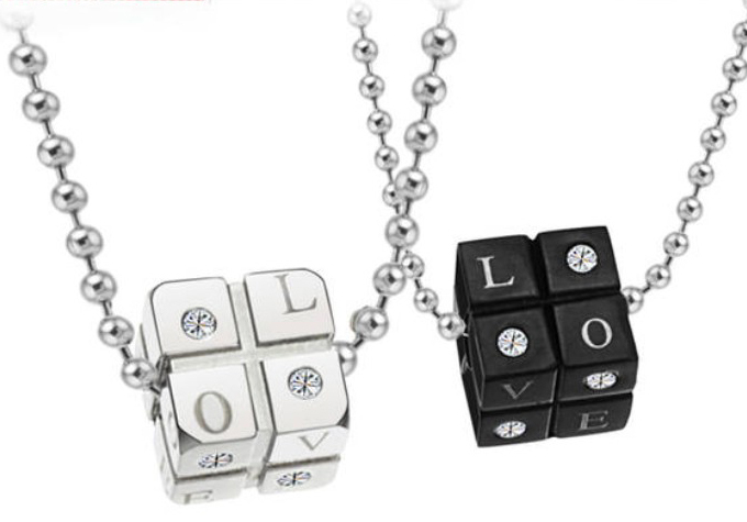 Lover Jewelry, 12mm*14.5g 14mm* 24g 316L Stainless Steel Silver Black Love Dice Craps Pendant Neklace, Two Free Chain