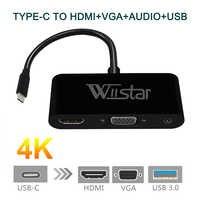 USB C Type C vers HDMI VGA 3.5mm adaptateur Audio 3 en 1 USB 3.1 USB-C câble convertisseur pour ordinateur portable Macbook Google