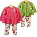 Menina Retail roupa do bebê primavera / outono infantil criança meninas 2 PCS Outfits Suit marca casaco + calças florais crianças conjuntos de roupas