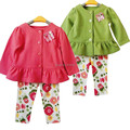 Retail bebé arropa primavera / otoño Infant Toddler Girls 2 unids trajes Suit Coat marca + Floral pantalones cabritos que arropan sistemas