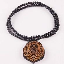 Pop Hip Hop Fashion Creative Brand Good Wood King Lion Pendant Beads Long Chain Men Wooden Pendants Necklaces Women Gift