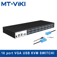 MT VIKI KVM Switch industrial grade 16 port usb automatic display computer vga switcher 16 into 16 PCS with KVM cables MT 1601VK