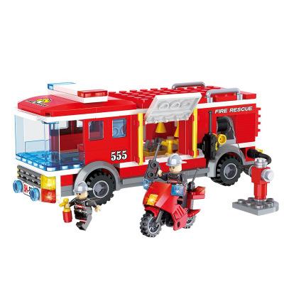 HSANHE City Series Fire Car Education Building Blocks Sets Bricks Classic Model Kids Toys Gifts Marvel Compatible Legoings enlighten city fighter car tank military command bomber building blocks sets bricks model kids toys compatible legoings