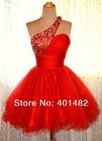 Бесплатная доставка, очаровательное платье трапециевидной формы на одно плечо, мини красное коктейльное платье из органзы, короткое вечерн