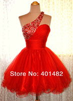 Freeshipping Charming Hot A line One shoulder Mini Red Organza Cocktail Dress Short Formal Party Dress