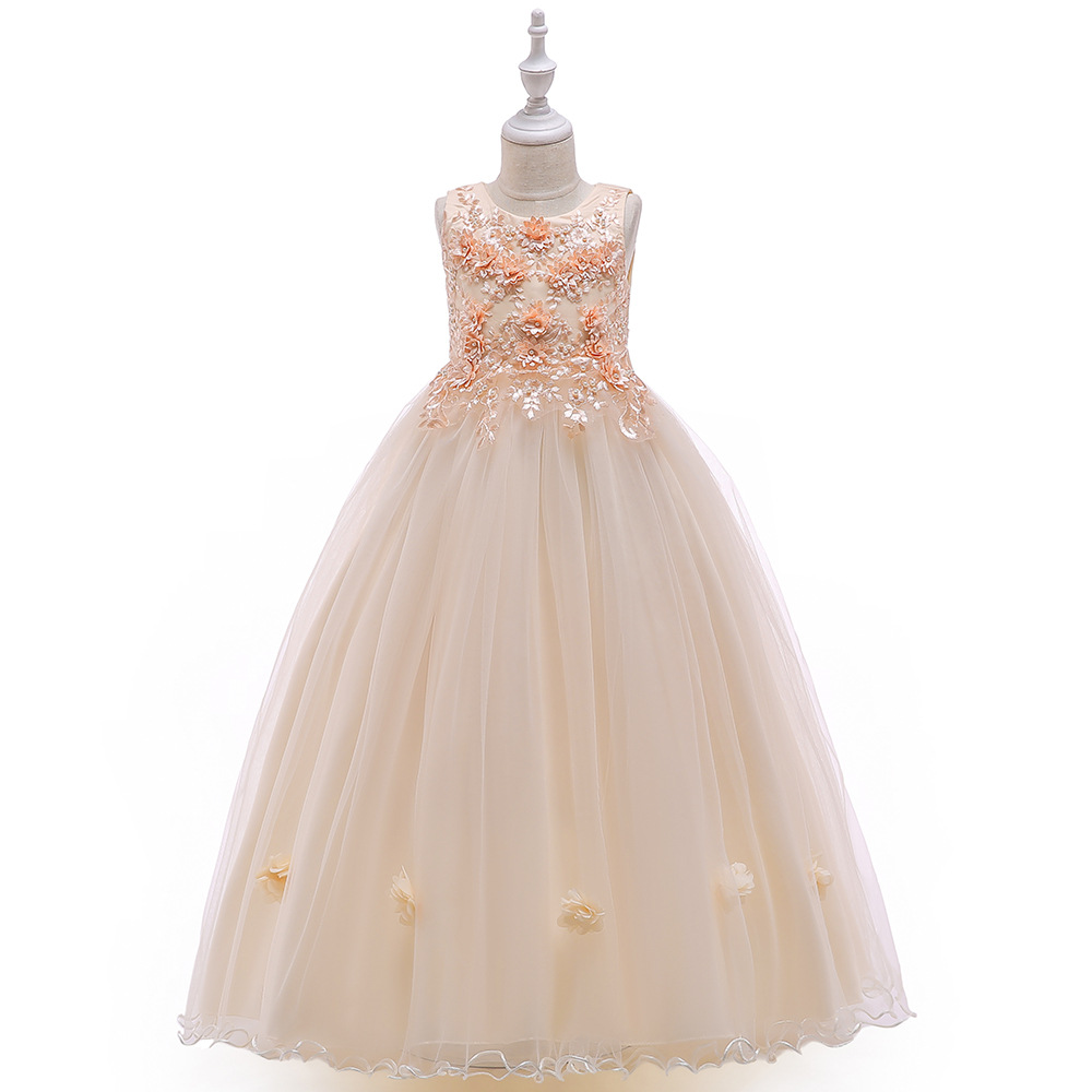 White Cheap   Flower     Girls     Dresses   Scoop Neck   Girls   Pageant   dresses   Organza Beads Kids party Gowns 2019