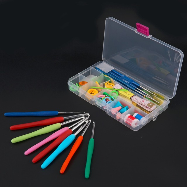 2017 Home Use 16 Different Sizes Crochet hooks Needles Stitches knitting Craft Case Crochet Set in Case Yarn Hook