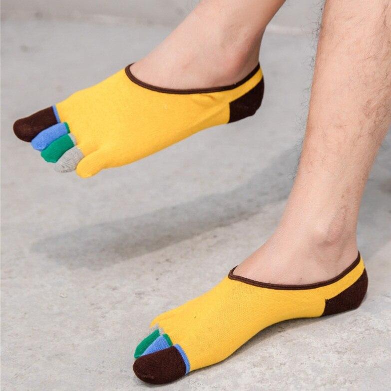 5 Pairs Colorful Men's Boat Socks Cotton Invisible Socks Toe Vetements Sock