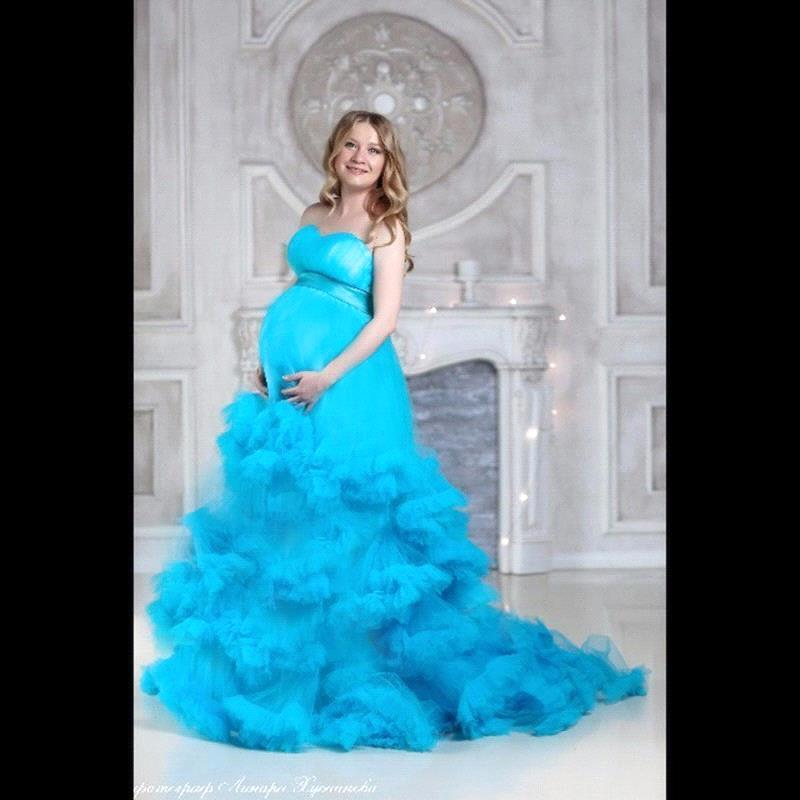 2017 Strapless Light Blue Princess Wedding Dresses Cascading Ruffles Maternity Pregnant Lace Up Plus Size Custom Made 9121122 In From