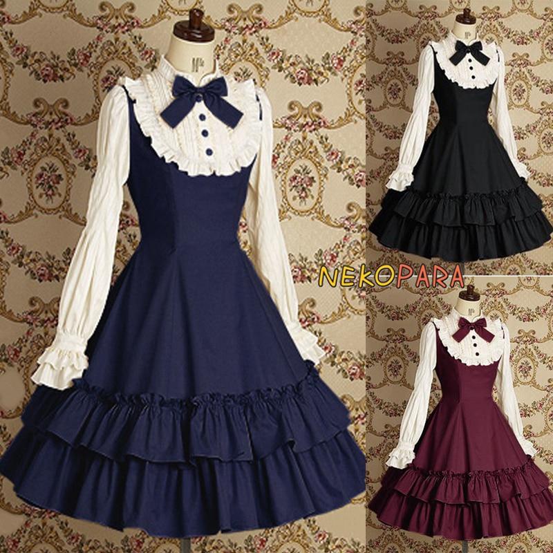 Classique Style Couleur Bleu EsthétiqueLuxuriant purplish Noir D'hiver bleu Robe Automne Fleuri Bourgogne Red Jsk Et Européen Lolita Noir Vintage OPZukXi
