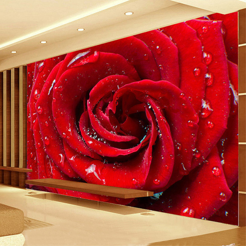 Custom 3d large mural big red rose romantic and warm photo wallpaper for wedding house wall mural 3d wall papers papel de parede in wallpapers from home