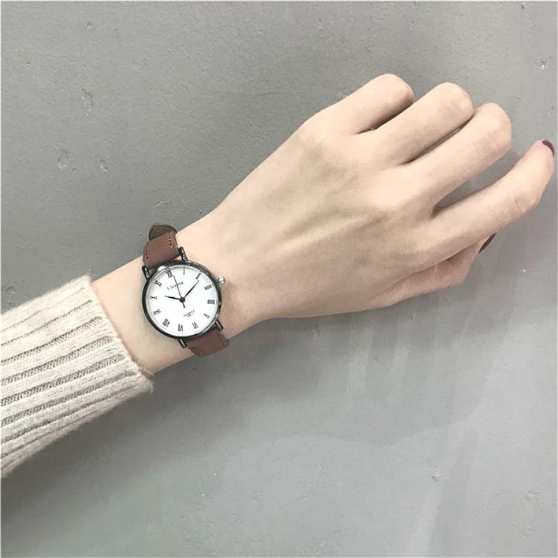 Ulzzang Simple Women Leather Watches Vintage Roman Numeral Ladies Quartz Watches Casual Lady Men Couple Watch Relogio Feminino
