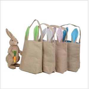 200 sztuk prezent na Wielkanoc torba podwójna warstwa Bunny uszy koszyk do projektowania juty materiał tkanina torba na drobiazgi przenoszenia jaj torba na imprezę niedźwiedź