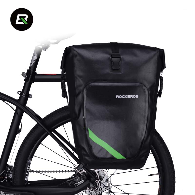 ROCKBROS 27L Full Waterproof Bicycle Bag Pannier Bike Carrier Bag Rear Rack Seat Trunk Pack Cycling Luggage Bag Bike Accessories osah dry bag kayak fishing drifting waterproof bag bicycle bike rear bag waterproof mtb mountain road cycling rear seat tail bag
