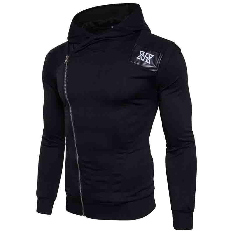 HOT 2018 Outdoor winter antumn spell leather printing exercise male zipper hooded fleece jogging sport men hoodies jacket coat