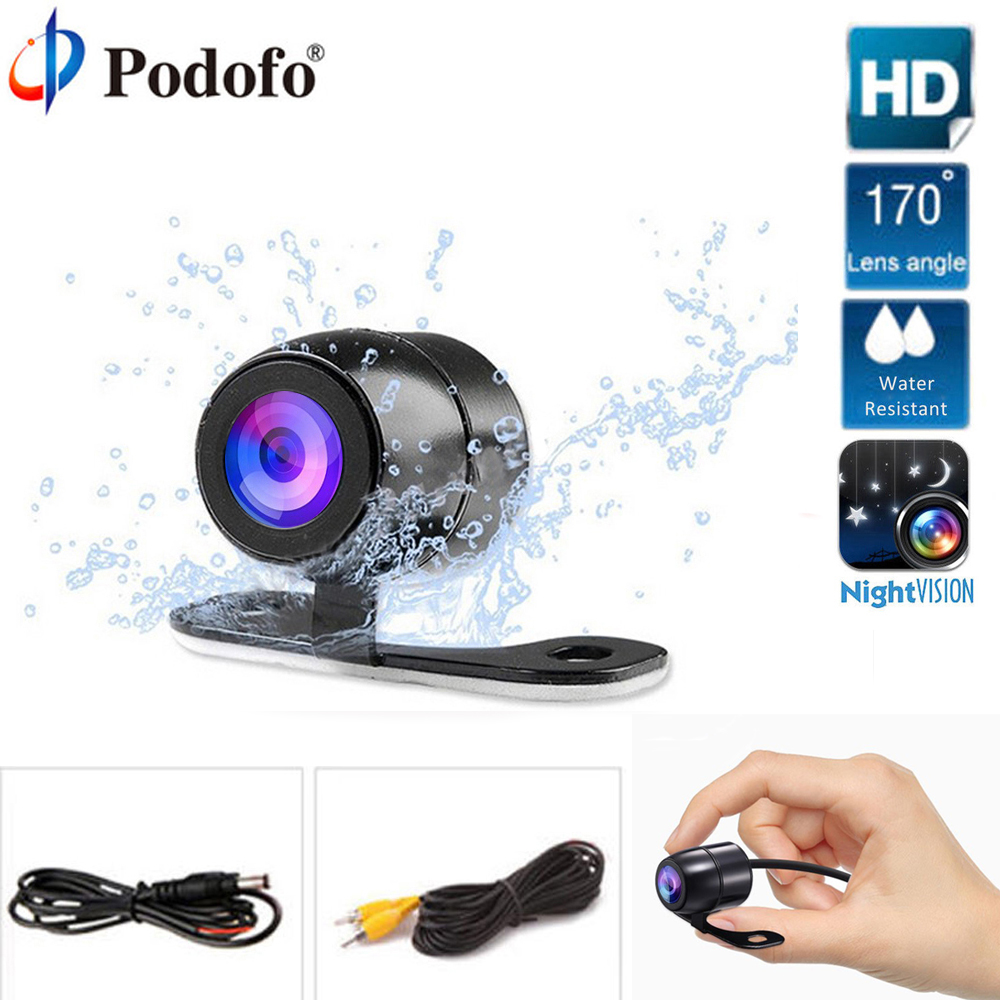 Podofo Car Rear View Parking Camera HD Color Rearview Camera Car Park Monitor 170Degree CCD Waterproof Car Reverse Backup Camera