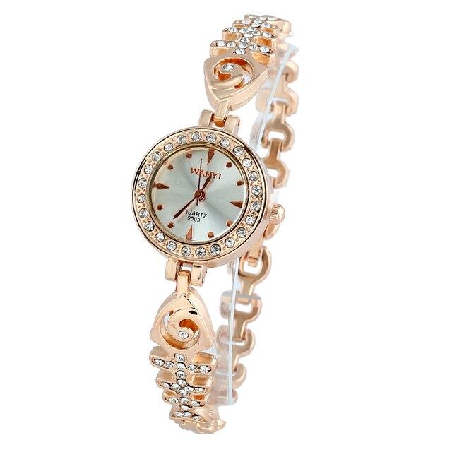 1deeb7f199e9 Nuevo lujo oro cristal relojes mujeres moda pulsera cuarzo relojes moda  pequeño reloj de cuarzo de