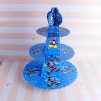 1pc Cake Stand 3 Tier Cupcake Holder Mickey Minne Mouse Holder 24pcs Cupcakes Kid Boy Birthday