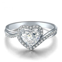 Heart Cut Natural GIA Diamond Ring for Women 18K White Gold 0.40+0.30ct GIA Diamond Handmade Wedding Engagement Jewelry