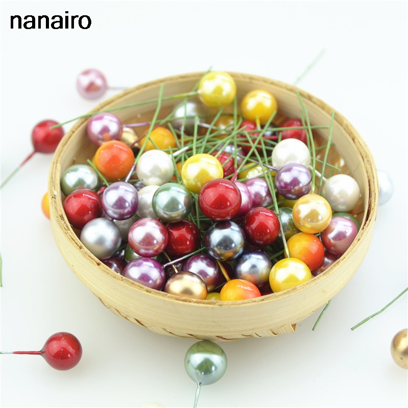 100pcs Super pearl Plastic Stamens Artificial Flower small Berries Cherry For Wedding Christmas Cake Box Wreaths Decoration