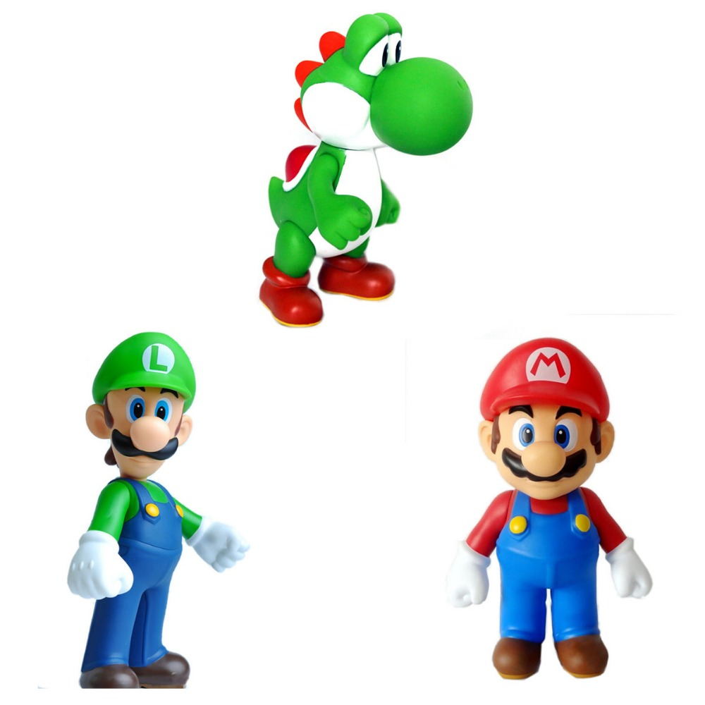 3pcs Set Super Mario Bros MARIO LUIGI YOSHI Collection 23cm/9 Toy Figure New in Box Gift APL008004 2017 Free Shipping