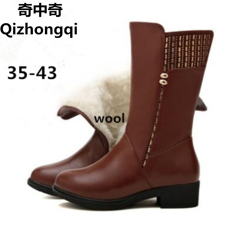 2017 winter new women's genuine leather boots, warm boots wool inside, large yard locomotive woman boots, free shipping цены онлайн