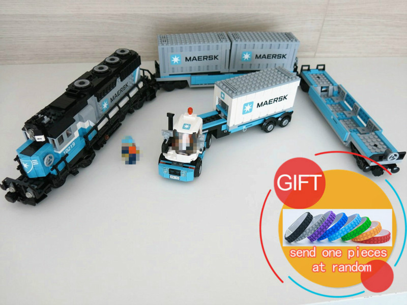 21006 1234Pcs The Maersk Train Technical Ultimate Series Set compatible with 10219 Building Block toys lepin 21006 compatible builder the maersk train 10219 building blocks policeman toys for children