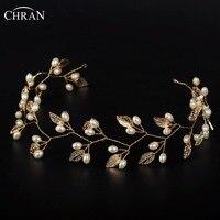Chran Leaf Hair Vine Baroque Queen Gold Plated Crown Tiara Faux Pearl Wedding Bridal Headband Hair