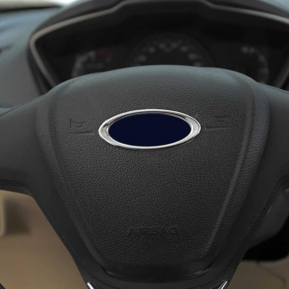 2016 Hot! volante de alta qualidade ABS Chrome guarnição tampa logotipo anel Para Ford Focus 2 3 Fiesta Kuga Ecosport auto acessórios