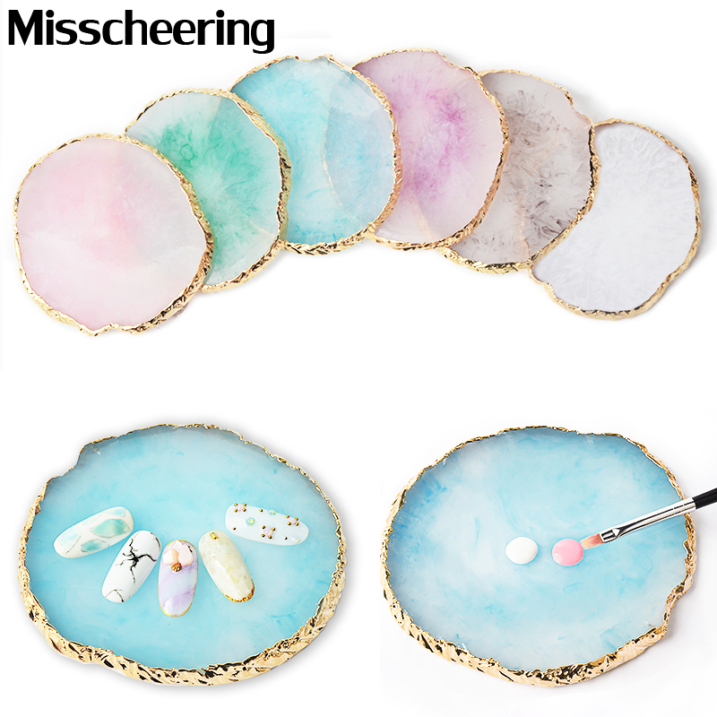 1 Pcs Round False Nail Tips Display Board Resin Stone Color Painting Palette Holder Practice Nail Art Tools Manicure Accessories
