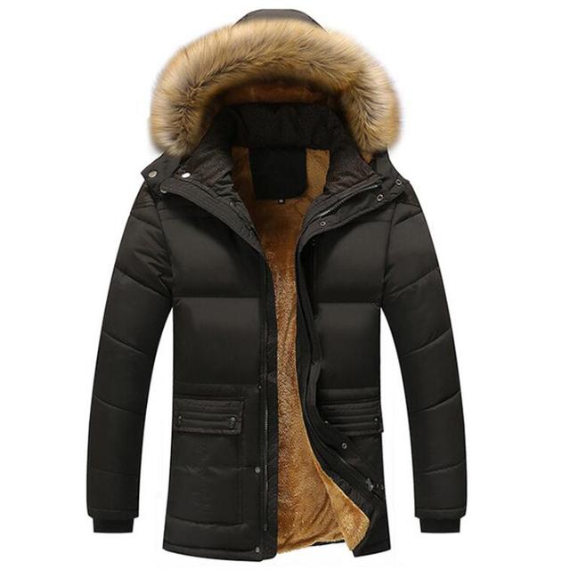 Gorąca kurtka zimowa mężczyźni aksamitne zagęścić bawełniane płaszcze męskie Casual Parka jaqueta masculina Casaco ciepły odpinany futro kurtki z kapturem