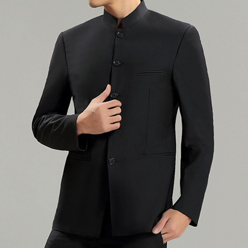 Hommes col montant chinois robe formelle traditionnel noir costume veste Tang veste traditionnelle chinoise vêtements haut