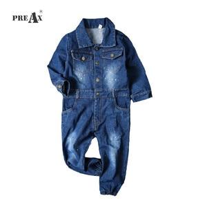 Image 1 - Children Boys Overalls Baby Girls Denim Jeans Bodysuit Kids Childrens Clothing Toddler Girl Navy Blue Spring Autumn Pants
