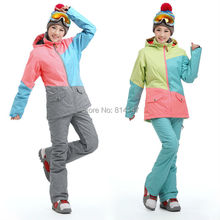 free shipping 2014 new color women's ski jacket mixed color Beautiful skiing jacket windproof waterproof snowboard jacket
